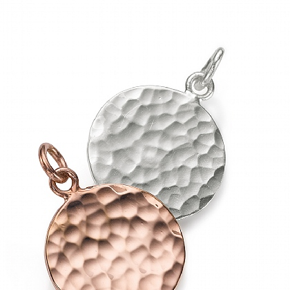Rose-Gold Hammered Disc Charm
