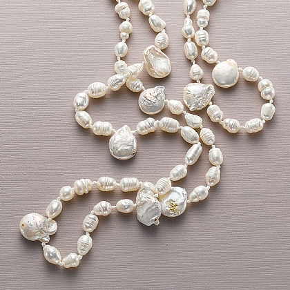 Gathered Pearl Necklace