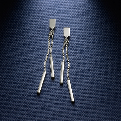 Long and Short of It Silver Drop Earrings