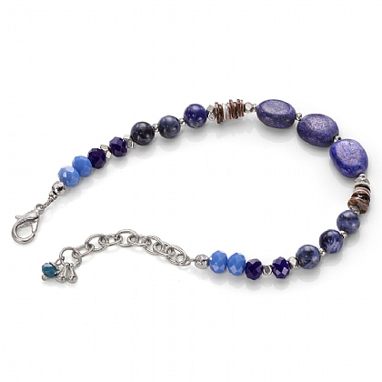 Blue Crystal and Agate Bracelet