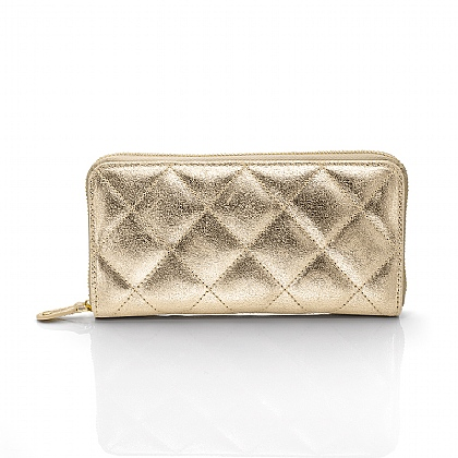 Squared Away Gold Leather Purse