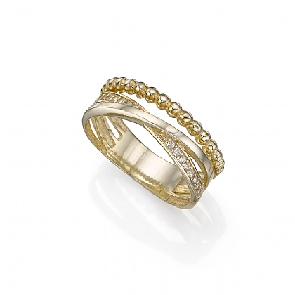 Gold-plated Encircled Textures Ring