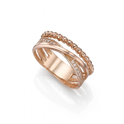 Rose Gold-plated Encircled Textures Ring