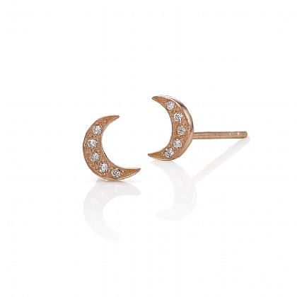 Rose Gold-plated Crescent Moon Stud