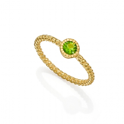 Peridot Green Rainbow Ring
