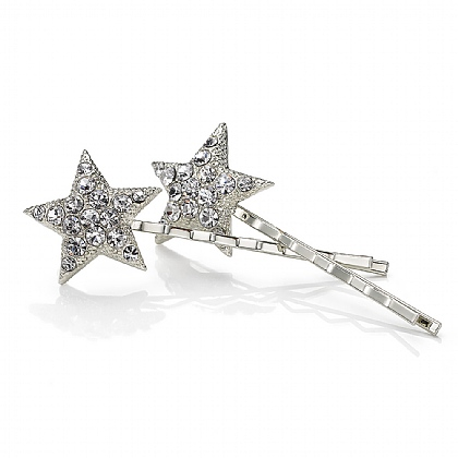 Pair of Silvery Bright Stars Hair Clips