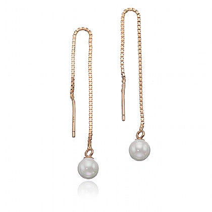 Rose Gold- plated Pearl Drop Threader Earring