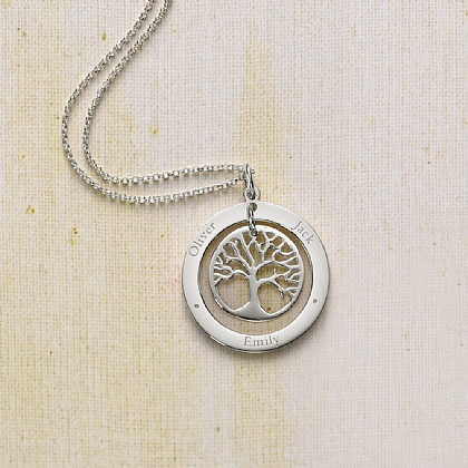 Personalised Silver Family Tree Circle Pendant