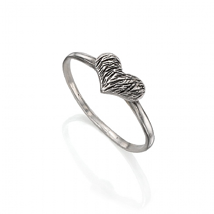 Silver Textured Heart Ring