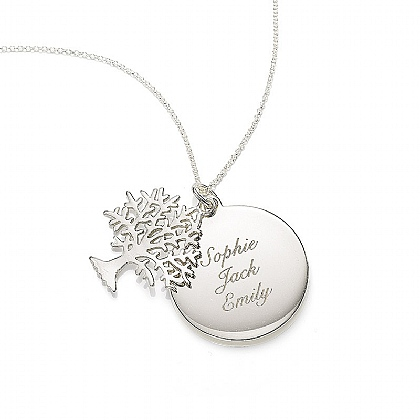 Personalised Family Tree Duo Silver Pendant