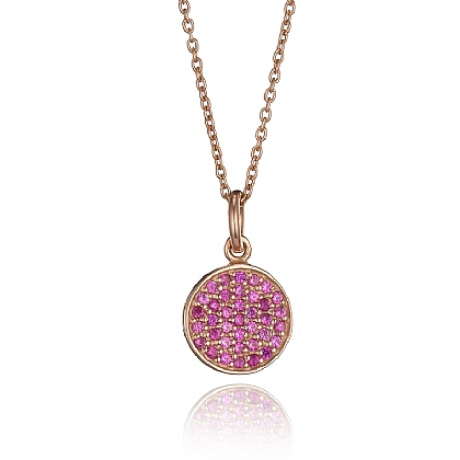 Cirque Pink Crystal Rose Gold Tone Pendant