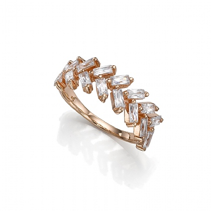 Chevron Crystal Rose Tone Ring