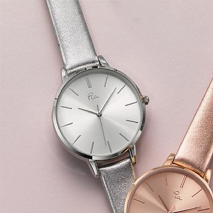 Time is Precious Silvered Leather Watch
