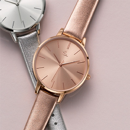 Time is precious Rosy Leather Watch
