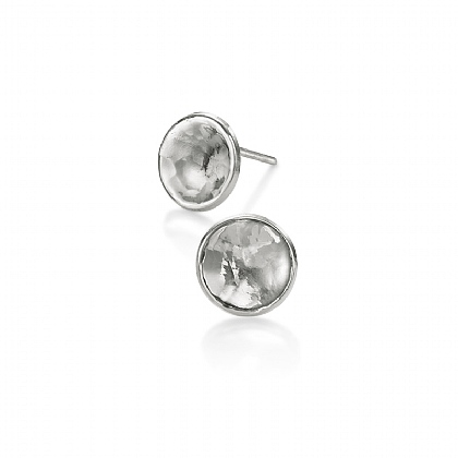 Silvery Moon Stud Earrings