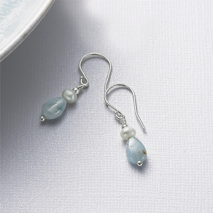 Aquamarine Pebbles & Pearls Earrings