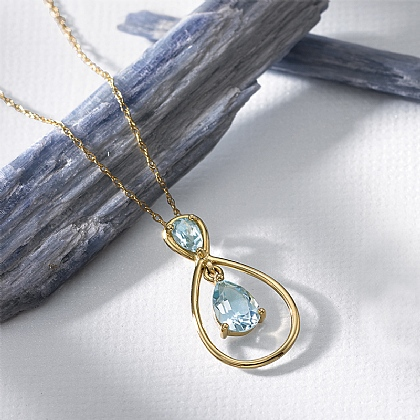 Blue Skies Topaz & Gold Pendant