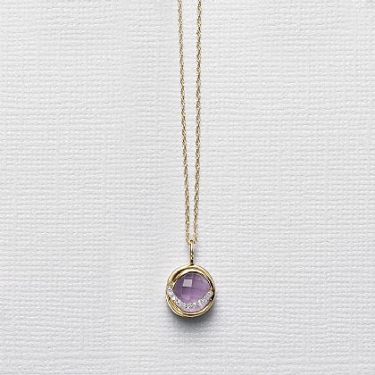 Amethyst & Diamond Gold Pendant