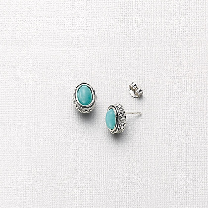 True to Blue Amazonite Stud Earrings