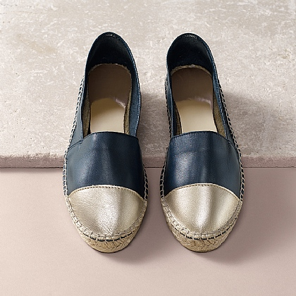 One Step Ahead Leather Espadrilles