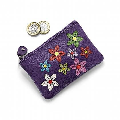 Flower Power Leather Purse
