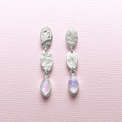 Moonstone Ripple Drop Earrings
