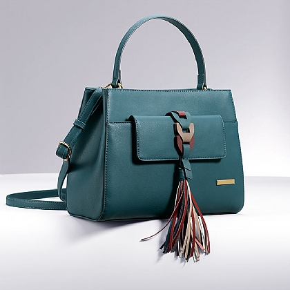 Teal Jenna Tassel Bag
