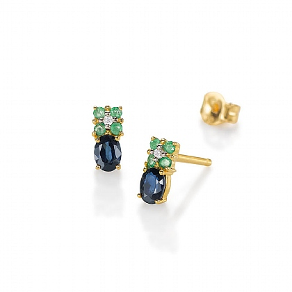 Spellbound Sapphire & Emerald Earrings