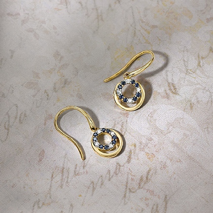 Eternal Orbit Diamond & Sapphire Earrings