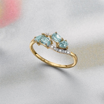 Galaxy Cluster Diamond & Blue Topaz Ring