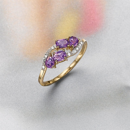 Galaxy Cluster Diamond & Amethyst Ring