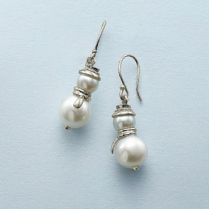 Pearly Snowman Drop Earrings